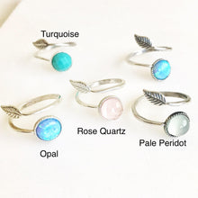Load image into Gallery viewer, Sterling Silver Stone and Leaf Rings. Adjustable Silver Ring.