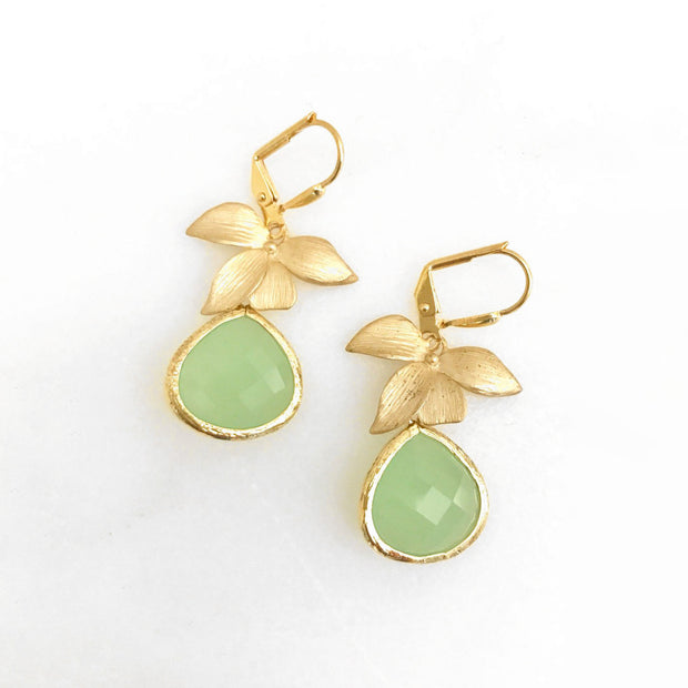Mint Teardrop Drop Earrings with Gold Orchid. Mint Drop Dangle Earrings