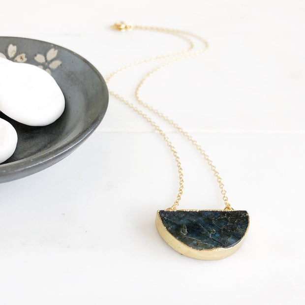Gold Half Circle Labradorite Necklace. Labradorite Crescent Geode Slice Necklace