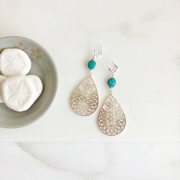 Large Silver Teardrop Earrings with Turquoise Stones. Silver and Turquoise Statement Earrings.