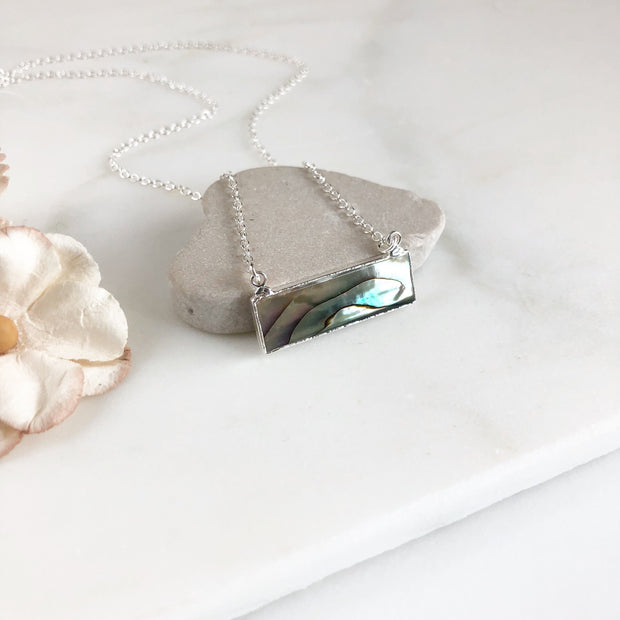 Abalone Bar Necklace in Sterling Silver. Shell Pendant Layering Necklace