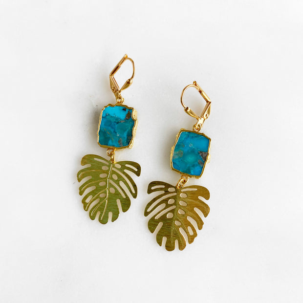 Gold Monstera Dangle Earrings with Turquoise Gemstone Slices. Gemstone Plant Leaf Earrings
