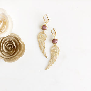 Gold Dangle Earrings. Brick Red Stone Wing Earrings. Gold Wing Earrings. Angel Wing Jewelry.