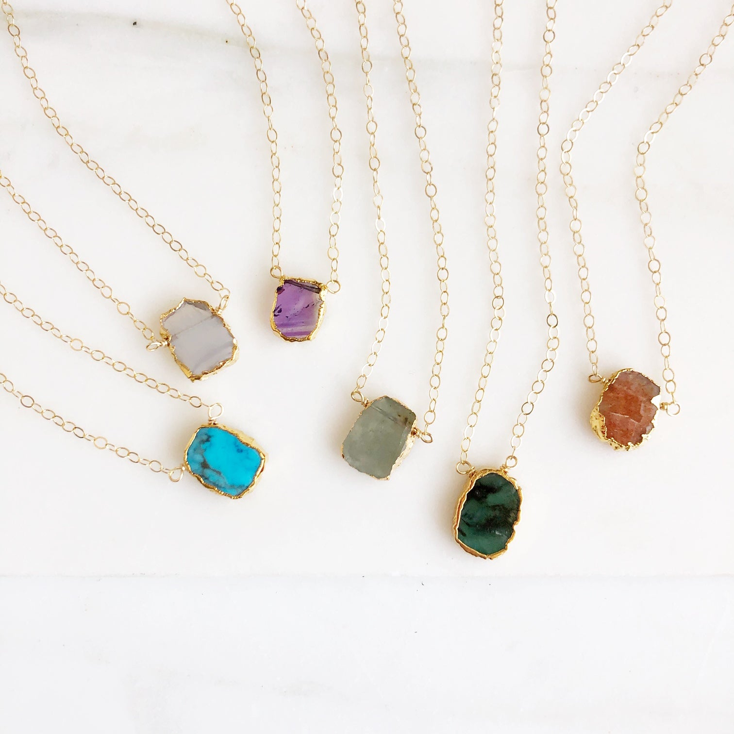Dainty Gemstone Necklaces in Gold. Delicate Gemstone Slice Necklaces. Gemstone Layering Necklace.