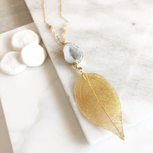 Load image into Gallery viewer, Long Gold Leaf and Open White Druzy Necklace with Moonstone Beaded Chain. Fall Colors Druzy Pendant Necklace. Druzy Necklace. Boho Necklace.