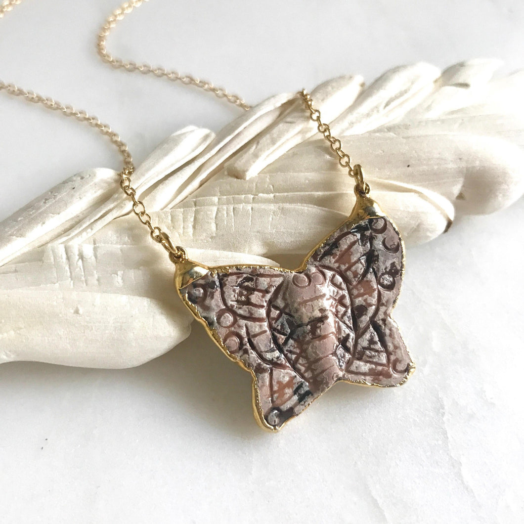 Butterfly Pendant Necklace in Gold. Layering Necklace. Jewelry Gift for Her.
