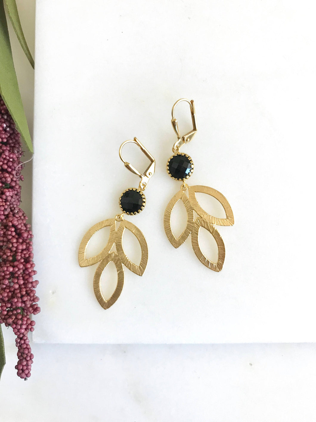 Black and Gold Dangle Earrings. Gold Leaf Drop Earrings. Black Jewelry. Bridesmaid Earrings. Gift for Her. Sale. Holiday Jewelry.
