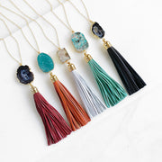 Leather Tassel Necklace. Crystal Stone Necklace. Boho Tassel Jewelry