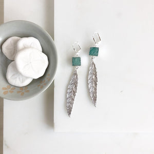 Silver Leaf Earrings with Amazonite Stones. Long Silver Earrings. Feather Earrings. Jewelry Gift.