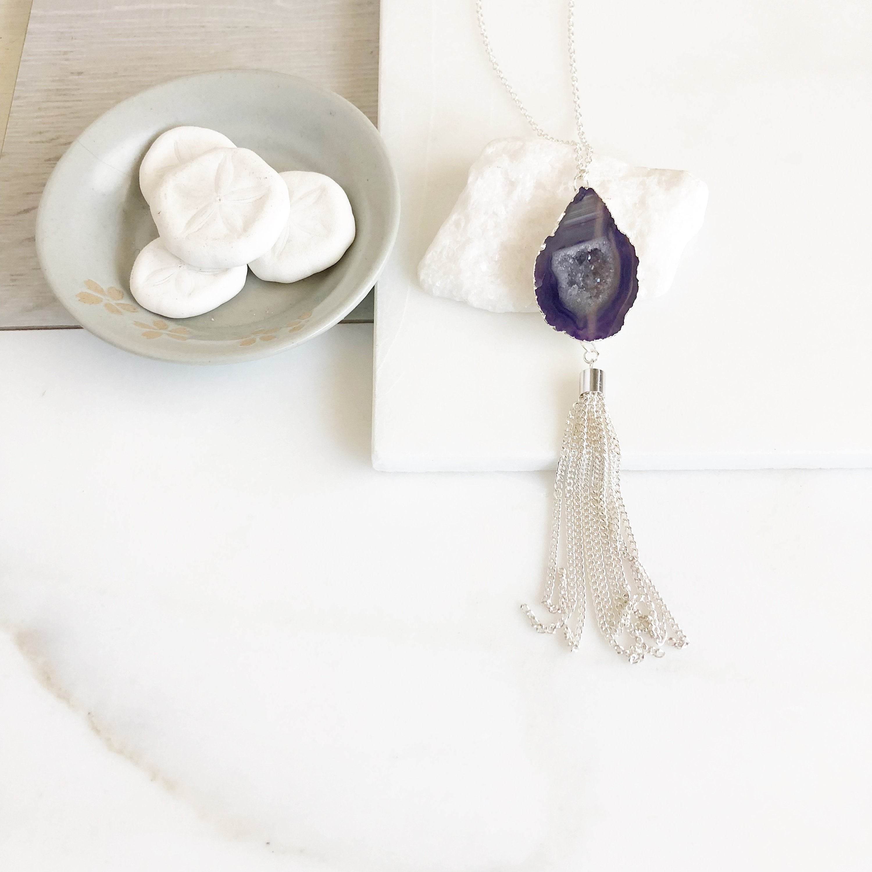 Long Silver Tassel Necklace. Silver Tassel Necklace with Purple Druzy. Purple Druzy Long Tassel Necklace. Boho Tassel Jewelry.