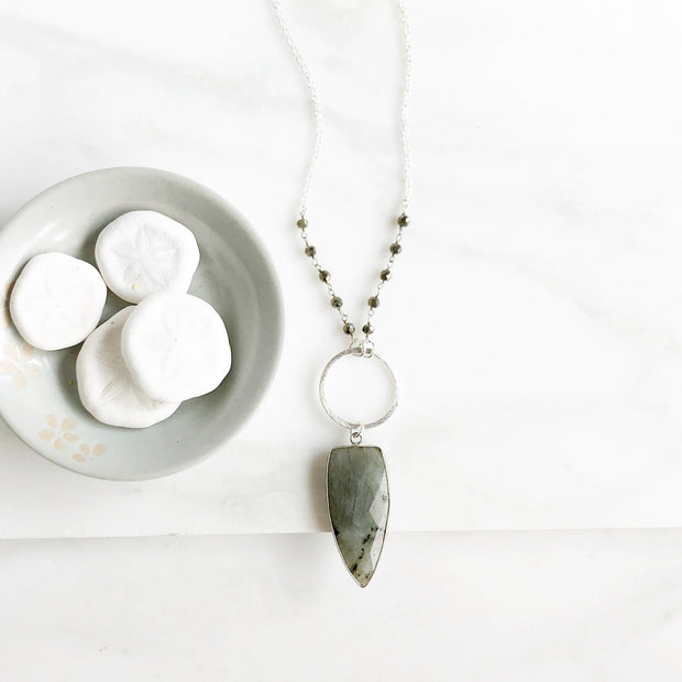 Long Labradorite Shield Necklace in Sterling Silver