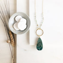 Load image into Gallery viewer, Long Green Druzy Teardrop Necklace with Amazonite Beaded Chain in Gold. Long Gold Necklace.