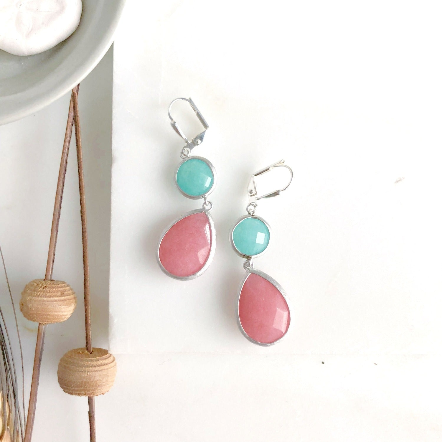 Pink Teardrop and Turquoise Stone Dangle Earrings. Fall Fashion Earrings. Jewelry Gift.
