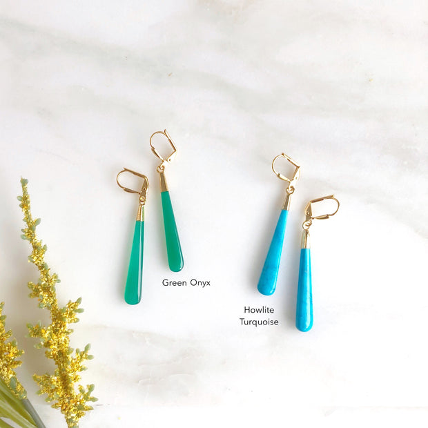 Long Gemstone Drop Earrings in Gold. Gemstone Stick Statement Earrings