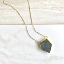 Load image into Gallery viewer, Labradorite Slice Pendant Necklace. Natural Raw Stone Necklace. Geode Necklace. Jewelry. Necklace. Gold Necklace. Crystal Necklace. Gift.