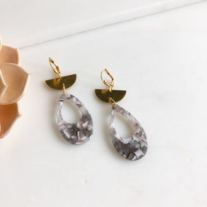 Gold Half Moon and Grey White Marbled Acrylic Dangle Earrings.
