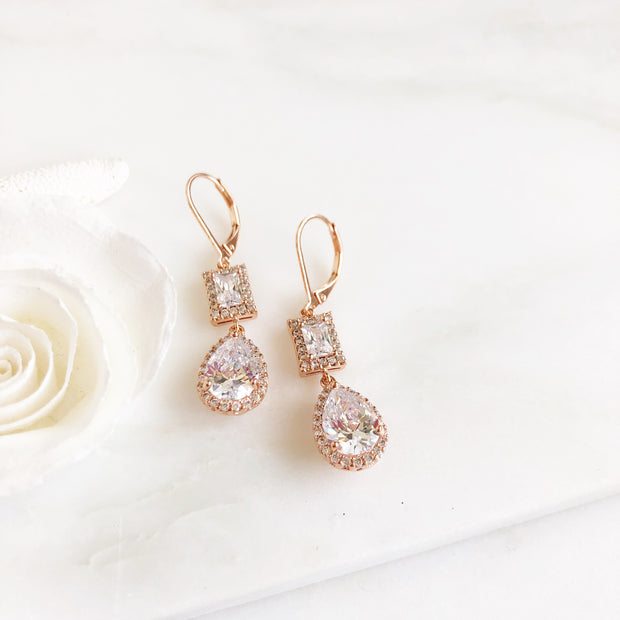 Rose Gold Bridal Earrings. Bridesmaid Earrings. CZ Rose Gold Bridal Earrings. Dangle Earrings.