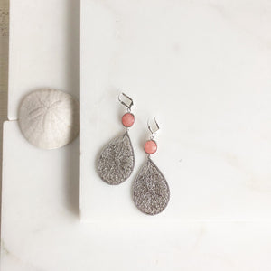 Silver Chandelier Statement Earrings with Pink Coral Stones