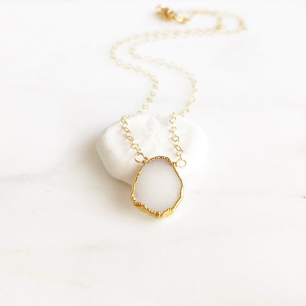 Milky White Gemstone Slice Pendant Necklace. White Stone Neckllace. Holiday Gift. Layering Jewelry.