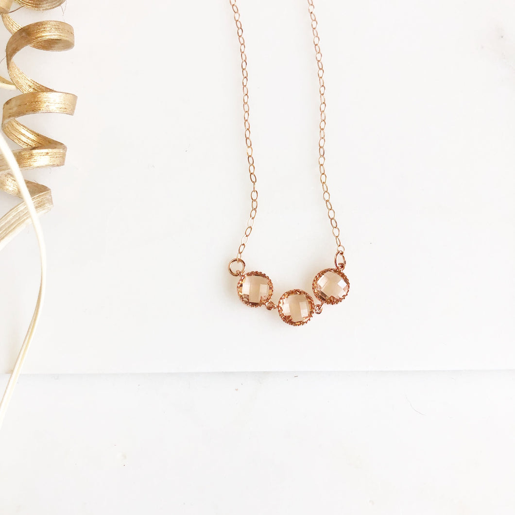 Rose Gold Champagne Circle Necklace. Glass Stones. Bridal Neckace. Bridesmaids Gift.