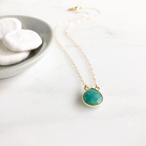 Amazonite Water Drop Necklace in Gold. Simple Amazonite Stone Necklace. Simple Jewelry Gift.
