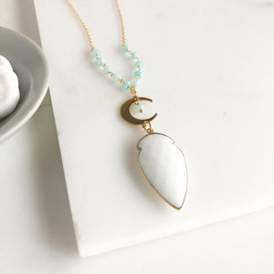 Long Gold Crescent Moon and White Agate Arrow Shield. Amazonite Beading Accents. Long Boho Jewelry.