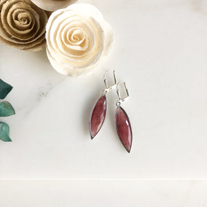 Red Jade Marquise Stone Earrings in Silver.