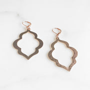 Geometric Quatrefoil Earrings in Rose Gold. Statement Chandelier Dangle Earrings