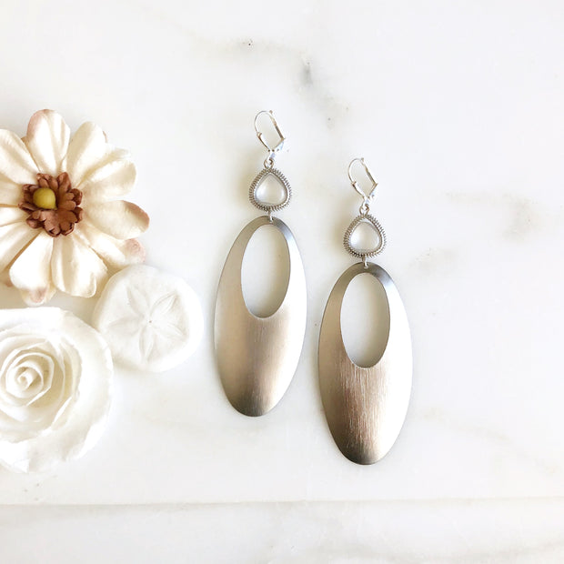 Silver Statement Earrings with Clear Crystal Stones