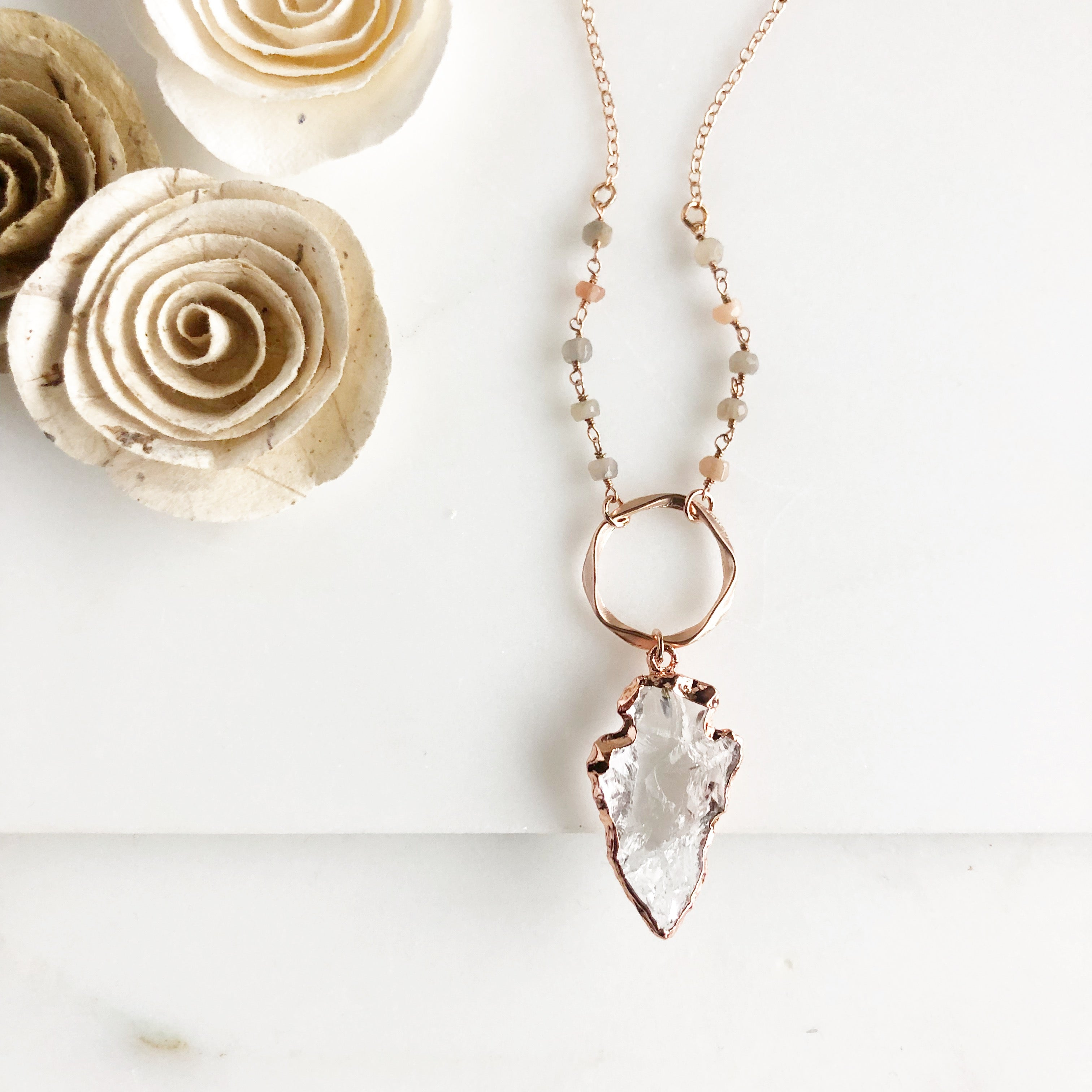 Long Rose Gold Necklace. Rose Gold Necklace with Crystal Arrowhead. Rose Gold Jewelry.