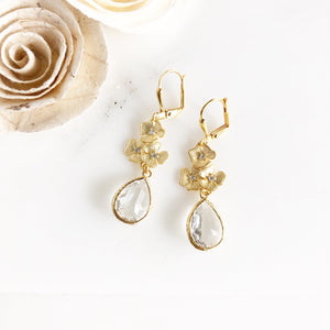 Gold Floral Earrings with Clear Glass Stone and Cubic Zirconia Accents. Bridal Earrings.