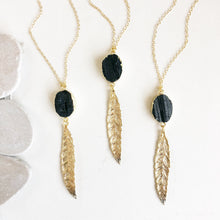 Load image into Gallery viewer, Long Gold Leaf Necklace with Black Stones. Layering Necklace. Gold Feather Necklace. Beaded Necklace. Bohemian Jewelry. Boho Jewelry.