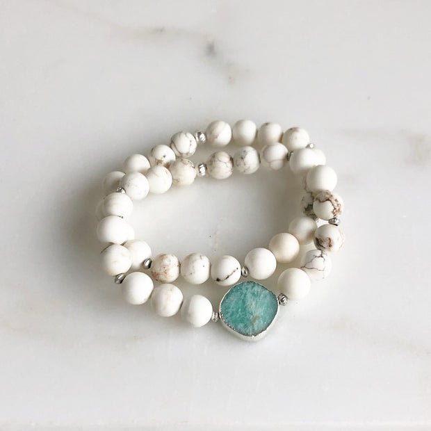 Set of Two Stretchy Beaded Bracelets with Amazonite Stone and White Howlite Beading in Silver