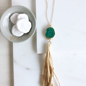Boho Tassel Necklace. Cream Tassel Necklace and Green Solar Quartz. Long Necklace. Boho Style.