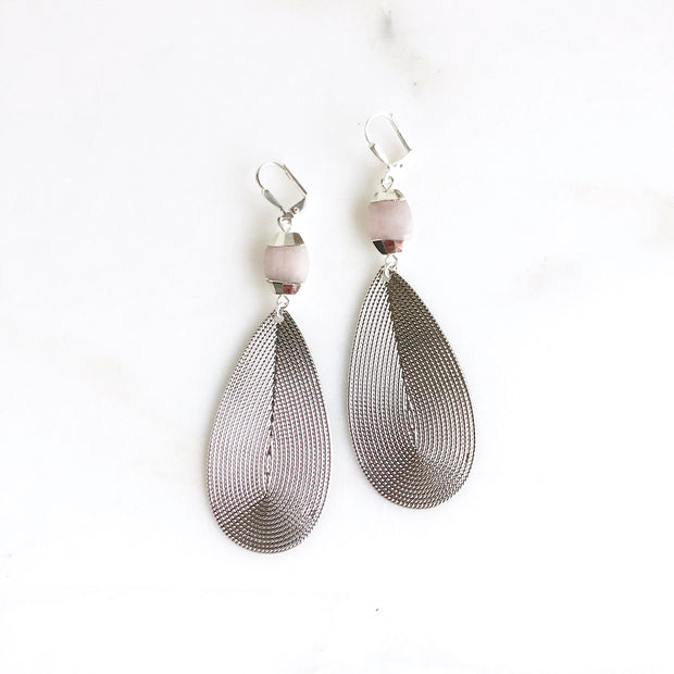 Silver Teardrop Statement Earrings with Pink Stones