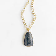 Charcoal Stone Pendant Necklace in Gold. Chunky Gold Chain Statement Necklace