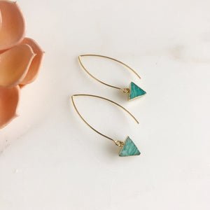 Triangle Drop Earrings with Amazonite Stones.. Triangle Earrings. Gold Earrings. Geomtric.