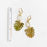 Clear Crystal Quartz and Monstera Leaf Dangle Earrings. Gold Plant Statement Earrings