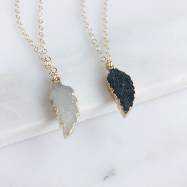 Dainty Druzy Wing Necklaces in Gold. Druzy Angels Wing Necklaces.