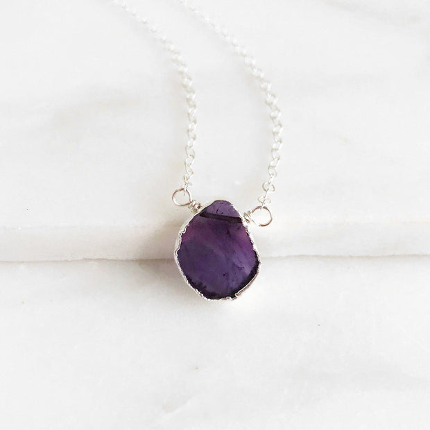 Silver Gemstone Slice Necklace. Simple Dainty Gemstone Necklace in Sterling Silver