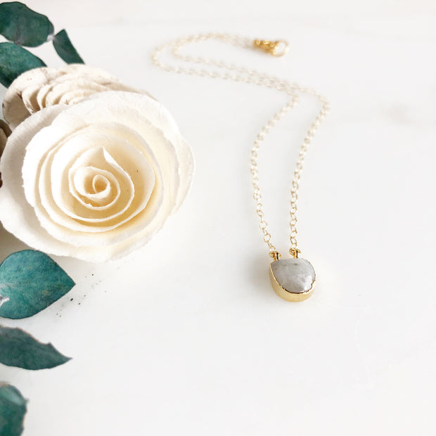 Moonstone Dot Necklace in Gold. Dainty Gold Necklace. Delicate Necklace. Gift.