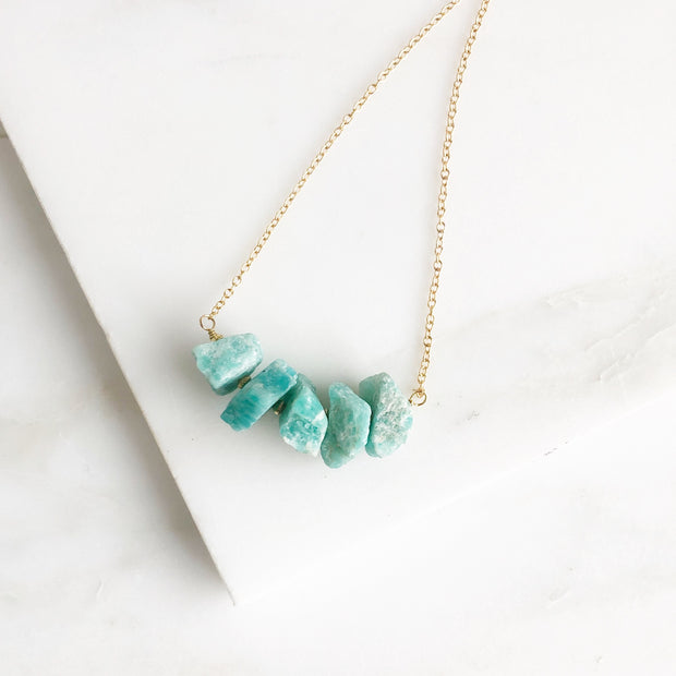 Chunky Amazonite Bib Necklace in Gold. Raw Gemstone Bib Necklace