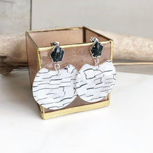 Load image into Gallery viewer, Statement Earrings. Black and Silver Acrylic Earrings. Acetate Earrings. Post Earrings. Dangle Earrings. Hoop Earrings. Gold Post Hoops.