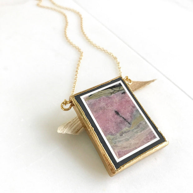 Picture Jasper Rectangle Pendant Necklace in Gold.