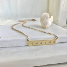 Load image into Gallery viewer, Simple Gold Bar Necklace. Everyday Gold Bar Triangle Pendant Necklace. Dainty Gold Bar Necklace. Gift for Her. Layering Necklace.