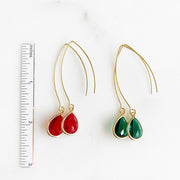 Red and Green Holiday Earrings. Christmas Gold Silver Drop Dangle Earrings. Jewelry Gift