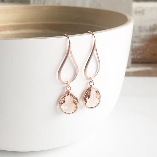 Rose Gold and Champagne Teardrop Earrings. Rose Gold Earrings. Dangle Earrings. Drop Earrings.
