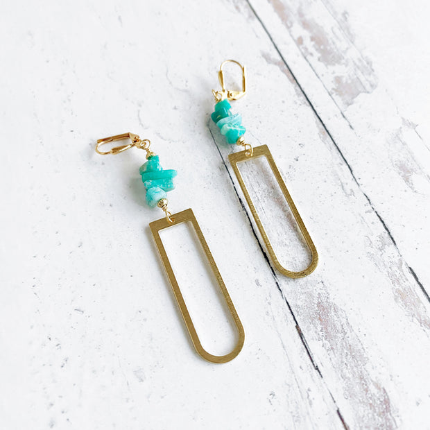 Long Horse Shoe Dangle Earrings with Amazonite Chip Beads. Long Gold Dangle Earrings