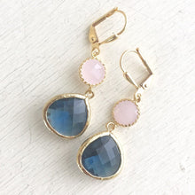 Load image into Gallery viewer, Earrings Sapphire Blue and Soft Pink Dangle Earrings in Gold. Bridesmaid Earrings. Navy Blue Pink Dangle. Drop. Bridemaids Gift.