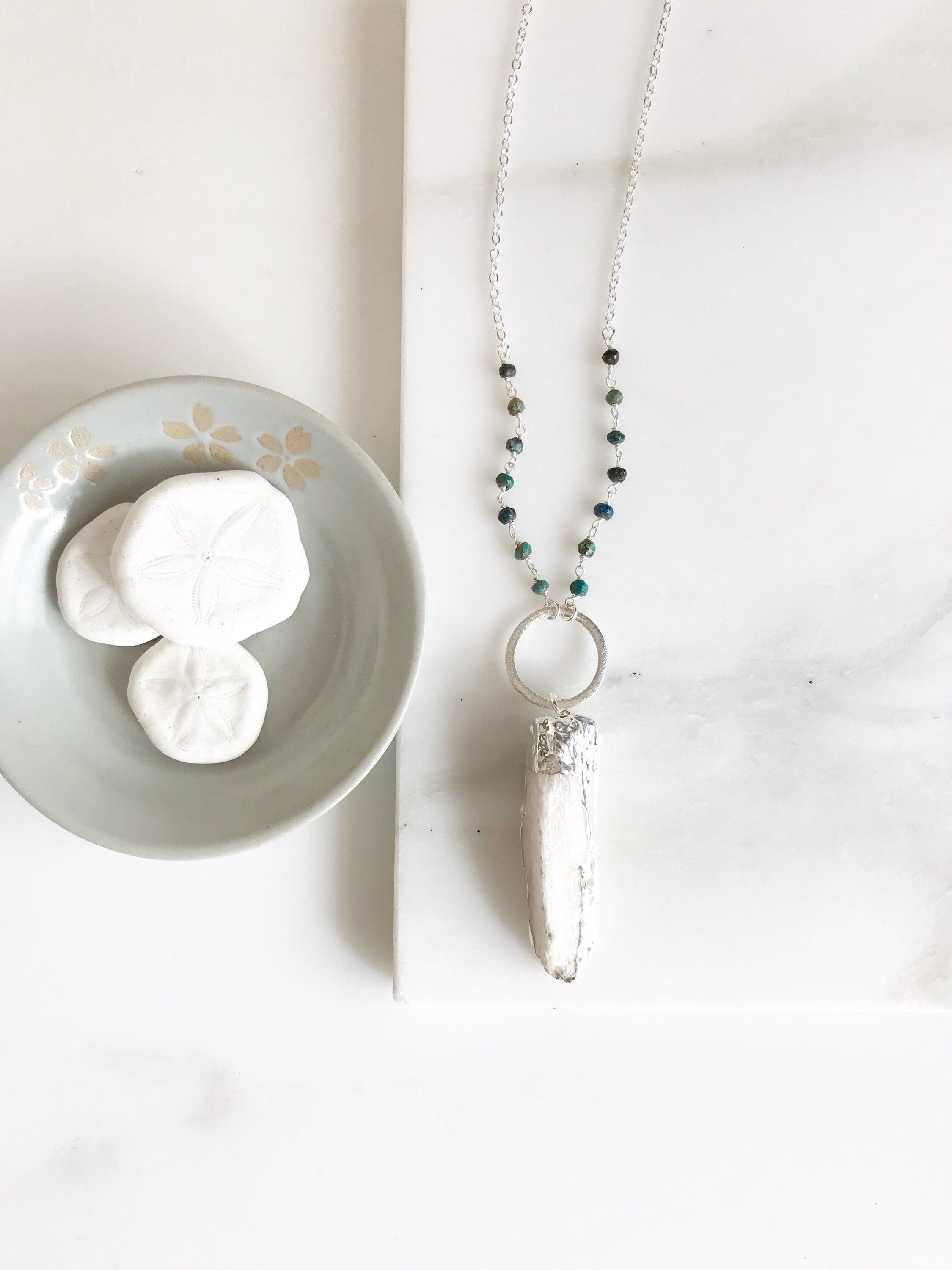 Long Boho Crystal Necklace in Silver. Selenite Stone Circle Necklace with Green Gemstone Beaded Chain. Long Bohemian Necklace. Gift.
